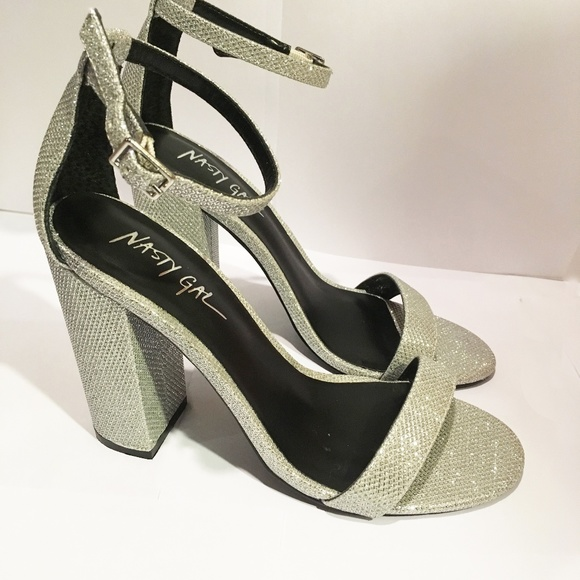 c84bff012eb Sparkly Block Heel Ankle Strap Shoes
